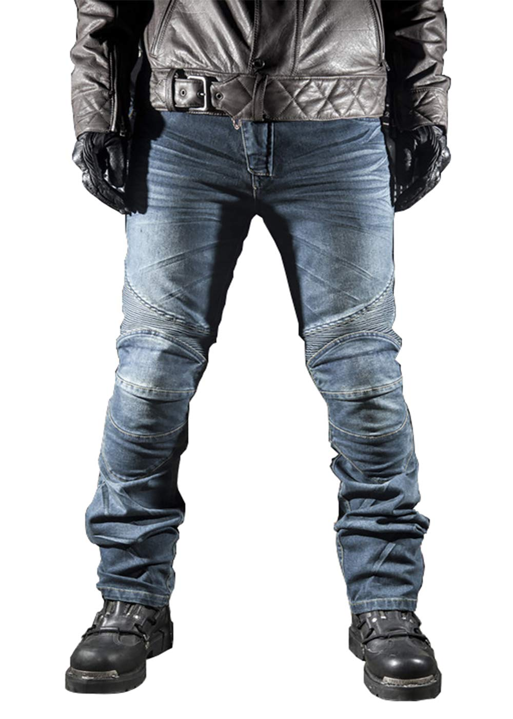 WildBee Off-road Street Motorbike Racing Jeans Black Trousers with removable Protective Pads