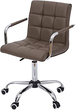 Amazon Com Homcom Modern Tufted Pu Leather Midback Home Office Chair With Lumbar Support Brown Furniture Decor