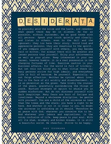 Wee Blue Coo Desiderata Ehrman Pattern Scrabble Unframed Art Print Poster Wall Decor 12x16 Inch Modelo Póster Pared: Amazon.es: Hogar