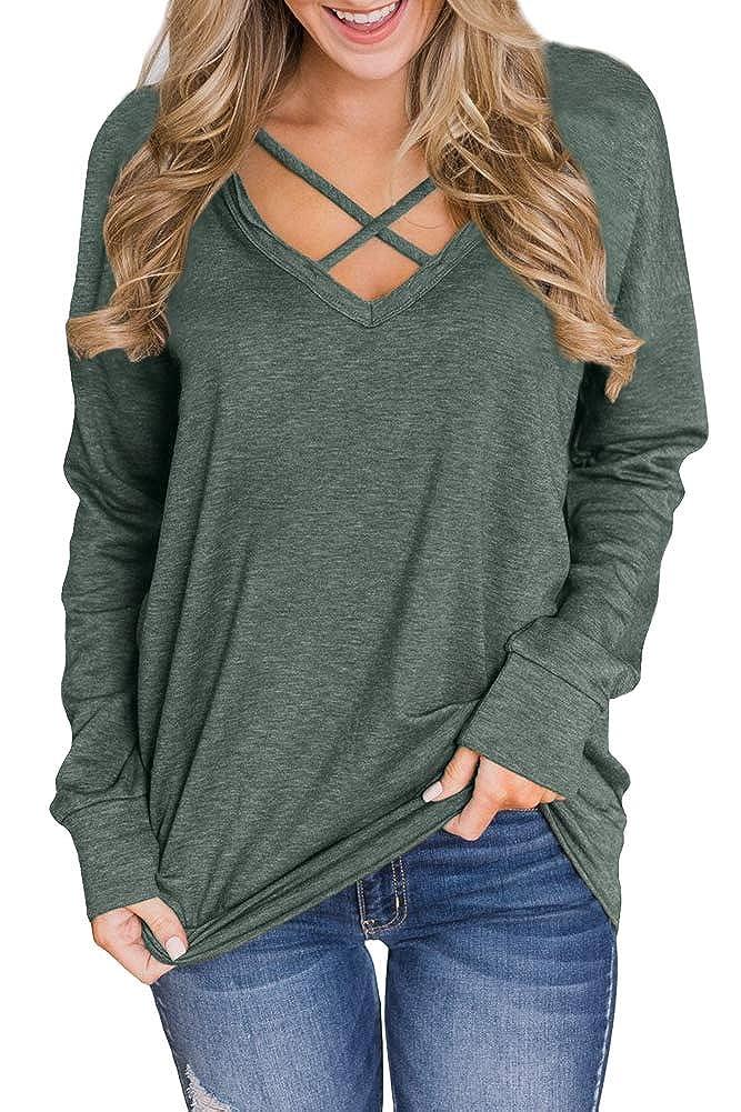 Spadehill Women V Neck Loose Fit Long Sleeve Sweatshirt