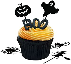 Amosfun 72pcs Halloween Cupcake Toppers Halloween Cake Toppers Pumpkin Cupcake Picks Spider Fruits Picks for Halloween Party Decorations Party Supplies
