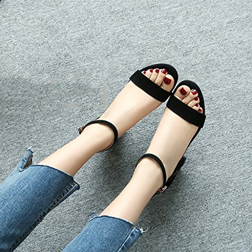 Sandals ZCJB Coarse Heel Shoe Female Summer Season Wild High-heeled Shoes Mid Heel One Word Deduction Open-toed Shoes (Color : Black, Size : 34)