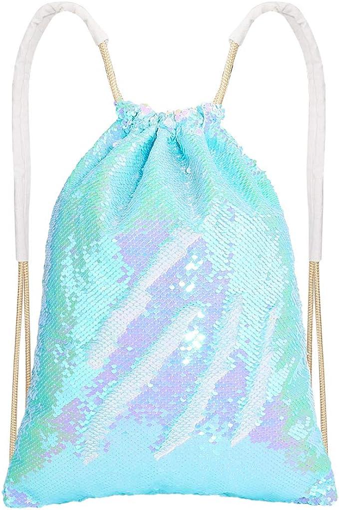 Blue//Pink /& Rainbow//Silver Sequin Drawstring Bag 2 Pack Reversible Sequin Dance Bags Backpacks for Girls Kids Sequin Mermaid Backpack