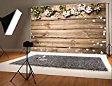 Kate 7x5ft Microfiber Wedding Backdrops Grey Wood Wall Photo Backgrounds Petals Backdrop for Photography