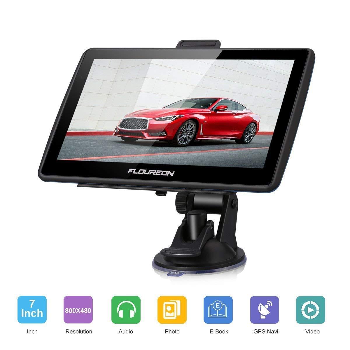 FLOUREON Dispositivo di Navigazione LCD Touch Screen da 7' Navigatore GPS Navigazione NAV Mappe EU UK Memoria da 8 GB Per Auto (Blu)