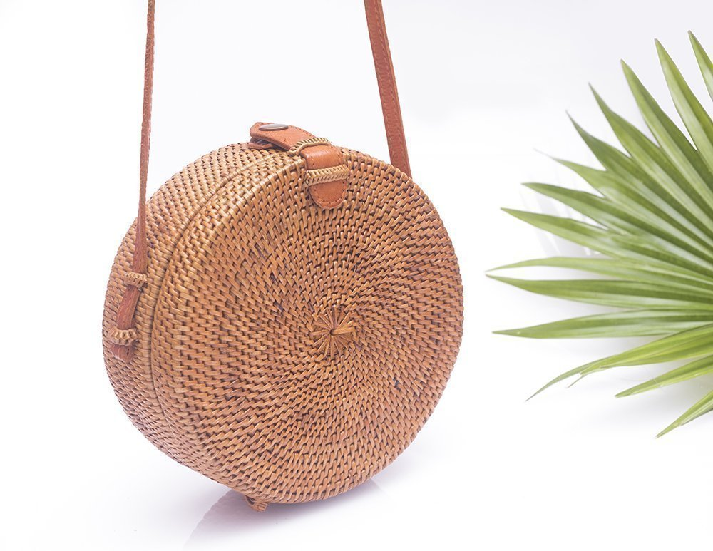 Round Straw Bag made with Ata Grass and Rattan with Leather Strap and Closure