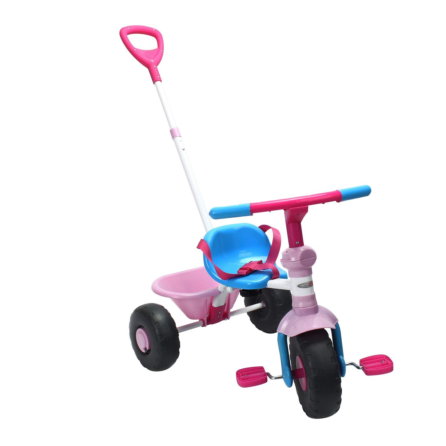 ChromeWheels Kids' Tricycle with 2 in 1 Push Handle & Easy Pedal,Pink