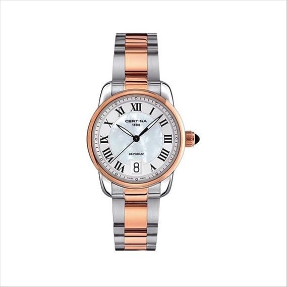 Certina - Reloj Analógico de Cuarzo para Mujer, correa de Acero inoxidable color