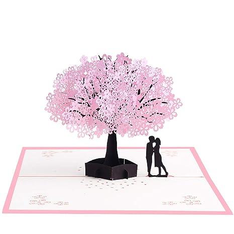 Leisial 3D Tarjeta de Felicitación Flower para Decoracion Tarjeta de Invitación/Cumpleaños/ Bodas/Día del Padre/Día de la Madre/San ...