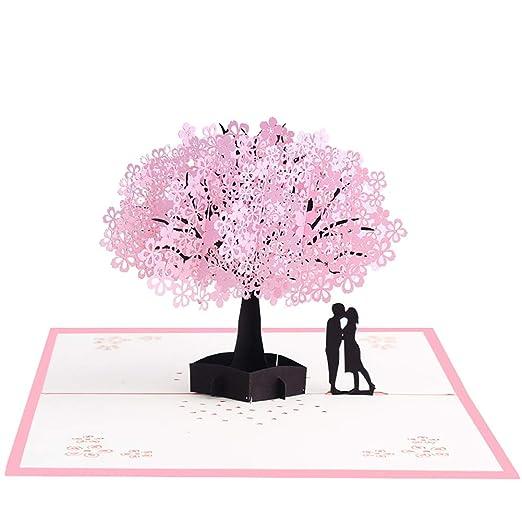 Leisial 3D Tarjeta de Felicitación Flower para Decoracion Tarjeta de Invitación/Cumpleaños/Bodas/Día del Padre/Día de la Madre/San ...