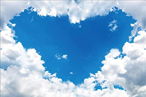 Leyiyi 10x65ft Blue Sky Backdrop Cloud Scape Kids Birthday Sunny Day Banner Heart Shape Wedding Nature Landscape Photo Background 1st B Day Baby