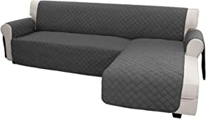 Easy-Going Sofa Slipcover L Shape Sofa Cover Sectional Couch Cover Chaise Lounge Cover Reversible Sofa Cover Furniture Protector Cover for Pets Kids Children Dog Cat (X-Large, Dark Gray/Dark Gray)