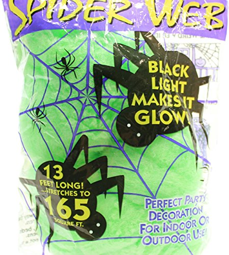 Green 13 ft Long Super Stretch Scary Spider Web Black Light Florescent Halloween Decoration (Pack of 2) - Halloween Spider Web Lights