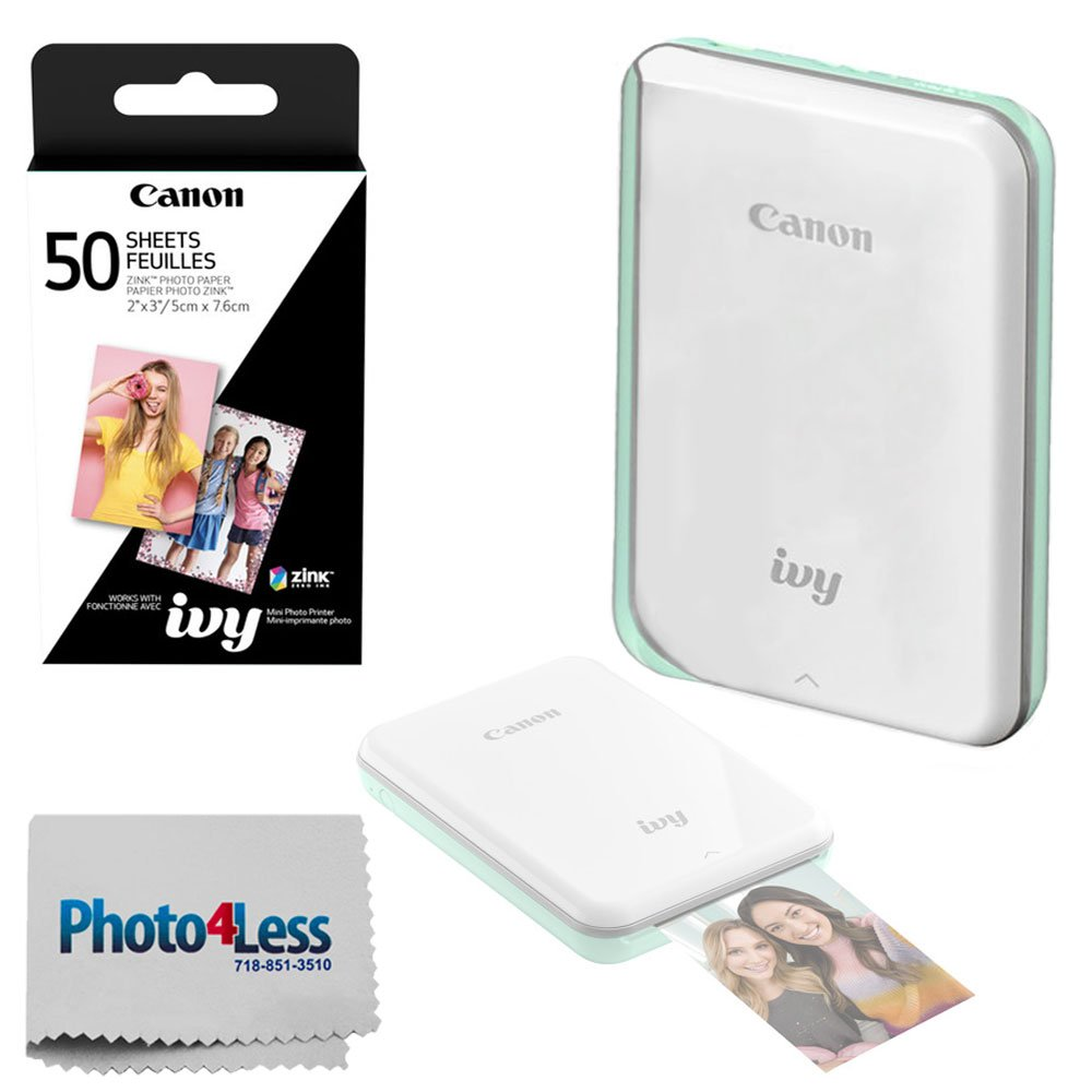 Canon Ivy Mini Mobile Photo Printer (Mint Green) - Zink Zero Ink Printing Technology - Wireless/Bluetooth + Canon 2 x 3 Zink Photo Paper Pack (50 Sheets) + Photo4Less Cleaning Cloth - Deluxe Bundle by Photo4Less