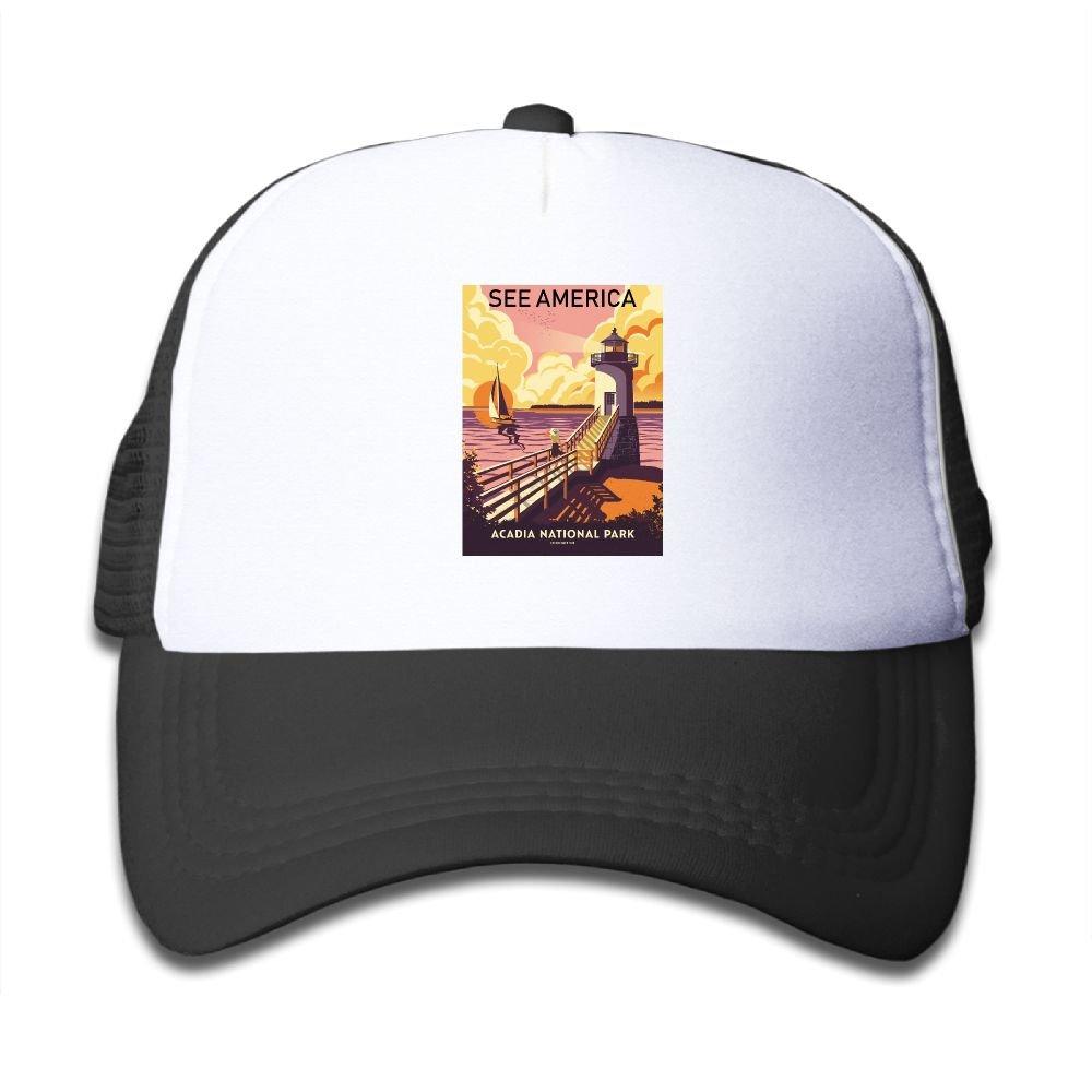Amazon.com  IOC Caps Travel Poster Acadia National Park Child Baseball Caps  Durable Mesh Trucker Hats  Clothing 09701879d9d2