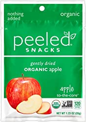 Peeled Snacks Organic Dried Fruit, Apple-To-The-Core, 1.23 Ounce (Pack of 10)