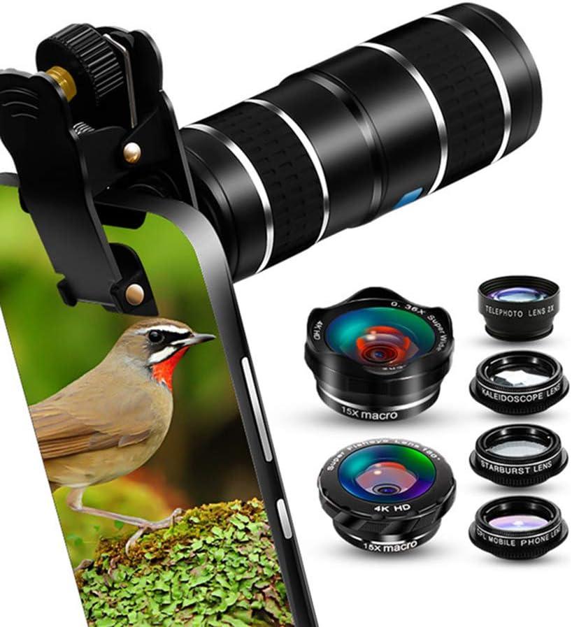 MAI&BAO Teléfono Celular Kit Lentes cámara, 9 en 1 Universal 12x Zoom Teleobjetivo, Fisheye,Gran Angular,Angular 0.63x, Macro,Caleidoscopio,Starburst,CPL para Smartphone: Amazon.es: Deportes y aire libre