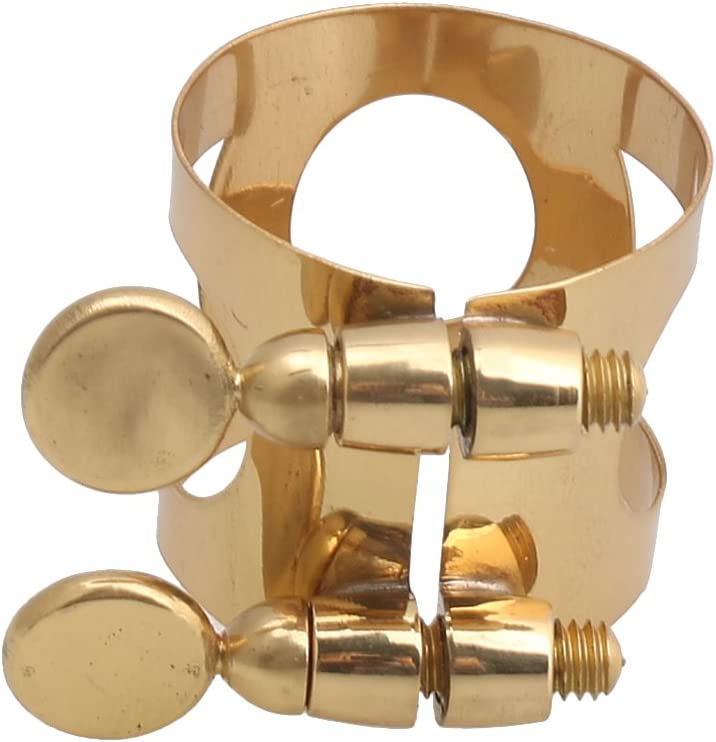 lovermusic Gold Brass DIY Sax Mouthpiece and Ligature Clip Set Replacement for Soprano Saxophone 9#