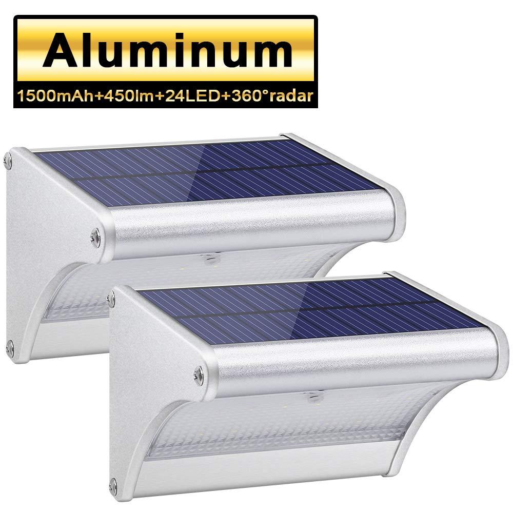 24 LED Solar Lights Aluminum Alloy Housing IP65 Waterproof Outdoor Solar Lights 360 Radar Motion Sensor Security Wall Lights for Step, Garden, Yard, Fence, Deck 2 Pack
