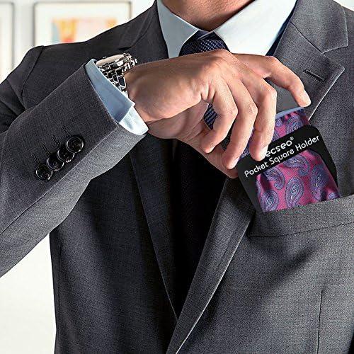 Pocket Square Guard for Men Suits, Ecseo Mens Pocket Square Holder/Folder