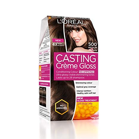 26be72f68 Buy L'Oreal Paris Casting Creme Gloss Hair Color, Medium Brown 500,  87.5g+72ml Online at Low Prices in India - Amazon.in