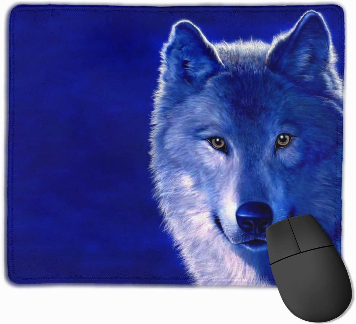 Mouse Pad Gmaing Computer Mouse Pad with Non-Slip Rubber Base for Computers MULOHYT Blue Animals Digital Art Wolves Mouse Pad with Stitched Edge Laptop Work PC