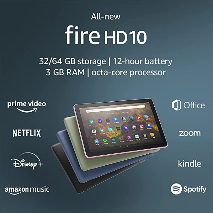 """All-new Fire HD 10 tablet, 10.1"""", 1080p Full HD, 32 GB, Lavender 
