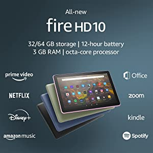 """All-new Fire HD 10 tablet, 10.1"""", 1080p Full HD, 32 GB, latest model (2021 release), Black, without lockscreen ads"""