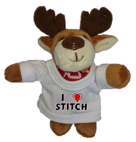 Reno de peluche (llavero) con Amo Stitch en la camiseta ...
