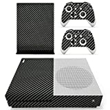 eXtremeRate Black Silver Carbon Fiber Full Set Faceplates Skin Stickers for Xbox One S Console Controller with 2 Pcs Console Power Button Decals Review