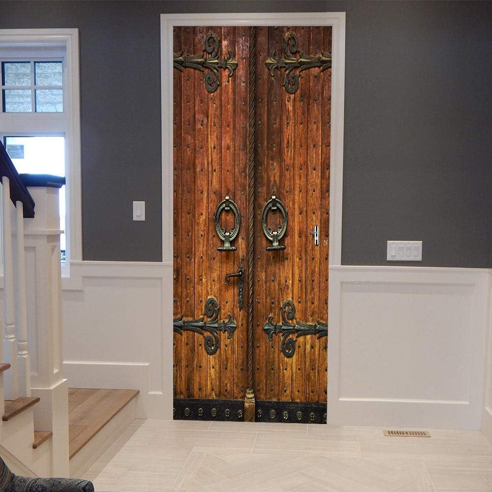 ColorSpring 3D Classic Old Wooden Door Door Decal Door Stickers Decor Door Mural Removable Vinyl Door Wall Mural Door Wallpaper for Home Décor (MT-033)