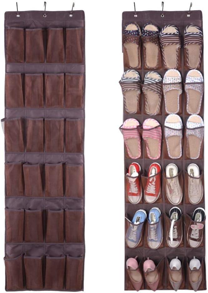Over The Door Shoe Organizers 2pk Bedroom 32 Large Pockets Hanging Shoe Storage Holder Rack with 6 Metal Hooks for Pantry Bathroom(42 1//2x 22) Closet Grey
