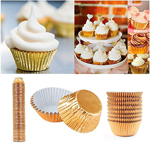 (500 Mini Foil Gold Baking Cups Cupcake Muffin Liners Bake Pastry Party Samplers)