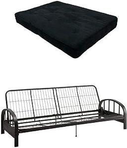 DHP 8-Inch Independently-Encased Coil Premium Futon Mattress, Full Size, Black & DHP Aiden Futon Frame, Black