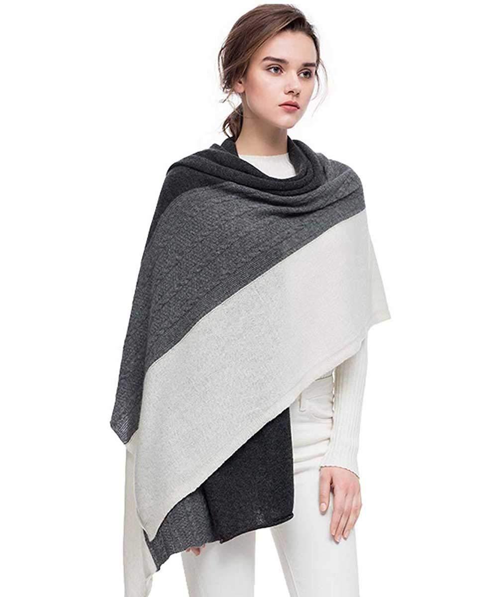 Fincati Women Scarves 100% Goat Cashmere Winter New Wrap Pashmina 65''x30'' Contrast Color Twist Knit Shawl