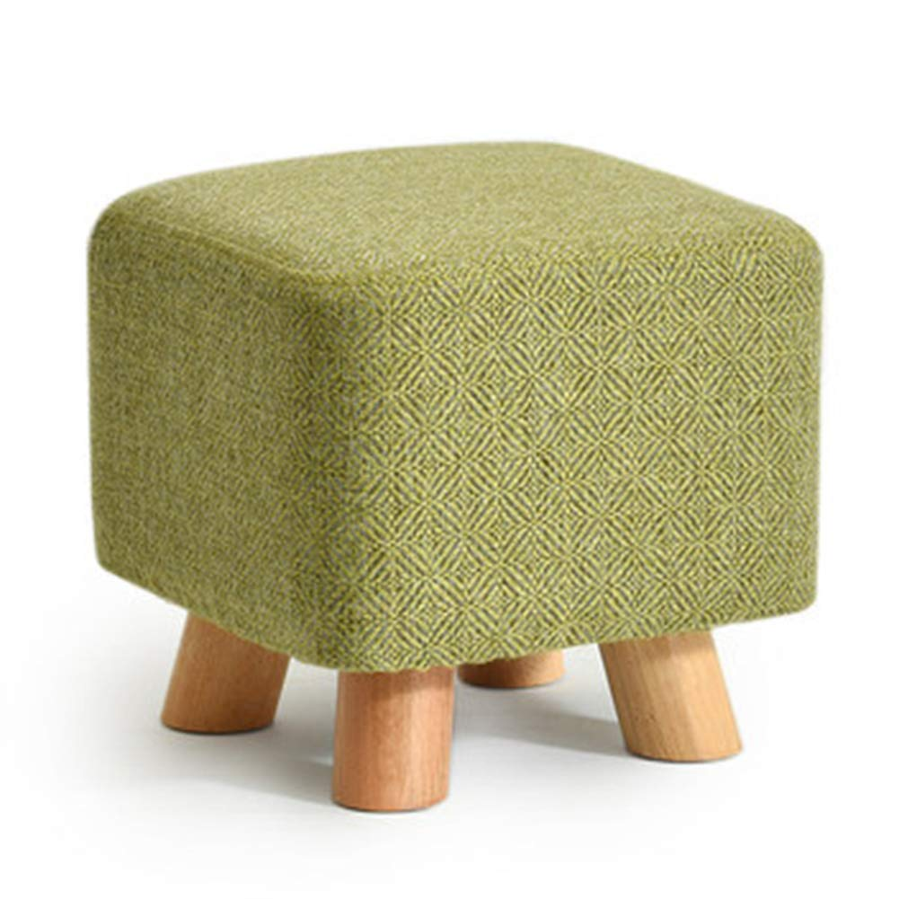 Square B Stool Coffee Table Stool Solid Wood Fabric Stool Footstool Stool Cover Removable Kitchen Bedroom Living Room,Square,D