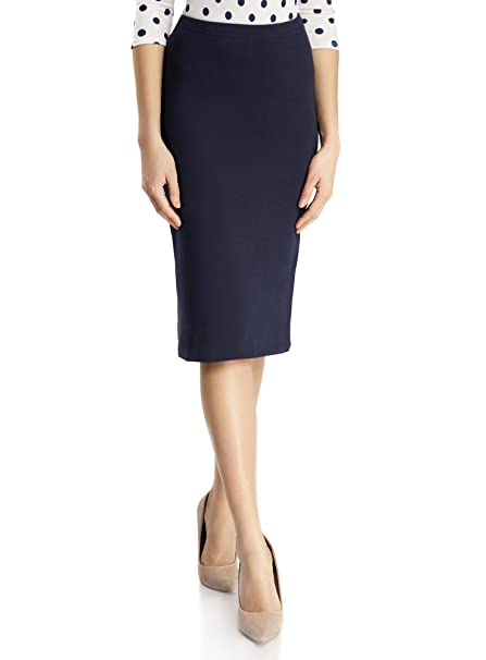 oodji Ultra Mujer Falda Lápiz de Punto, Azul, ES 34 / XXS