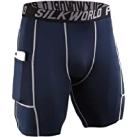 SILKWORLD Men's Compression Shorts Pockets Sports Running Tight