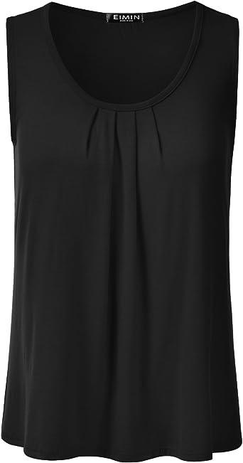 S-3X EIMIN Womens Pleated Scoop Neck Sleeveless Stretch Basic Soft Tank Top