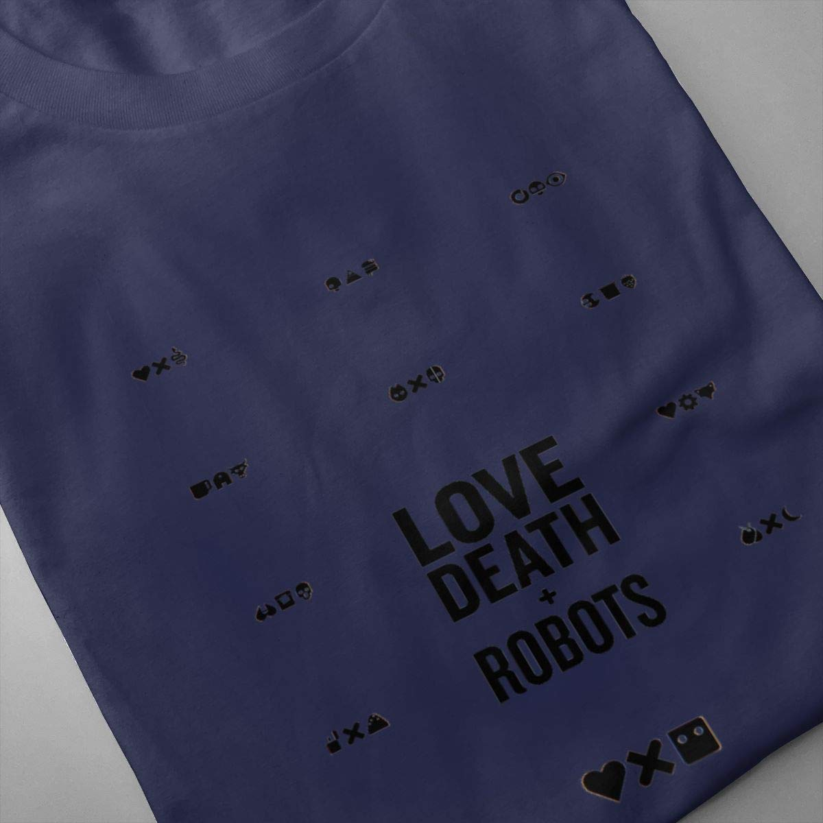 SHENGN Mens Printed Breathable Love Death Robots Logo Short Sleeve Funny T Shirt Gray
