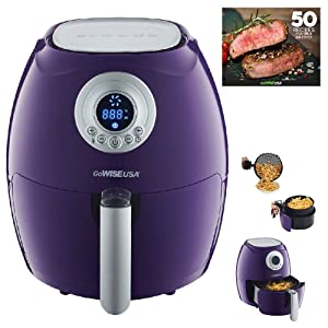 GoWISE USA GW22652 2.75-Quart Digital + + 50 Recipes for your Air Fryer Book, QT, Plum