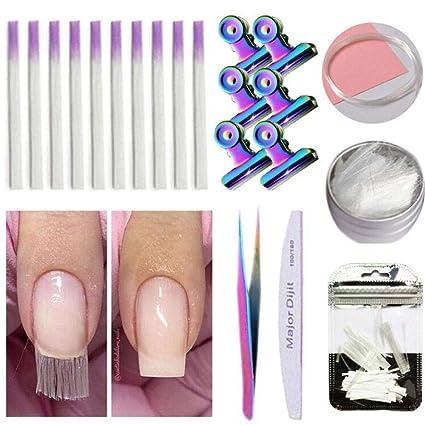 Baiwka - Juego de 21 extensiones de uñas postizas con pegamento para ...