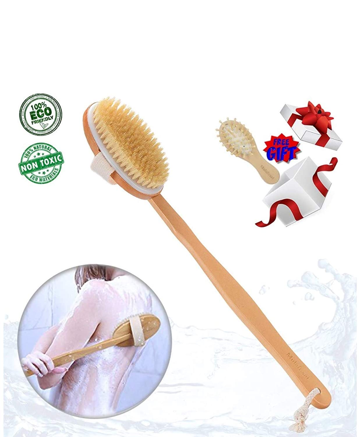 Dry Brushing Body Brush Skin Brush Natural Bristles Back Scrubber Exfoliating Massager Shower Dry/Wet Bath Brush For Men/Women Long Relax Wood Handle -Cellulite, Circulation, Skin Beauty Healthy