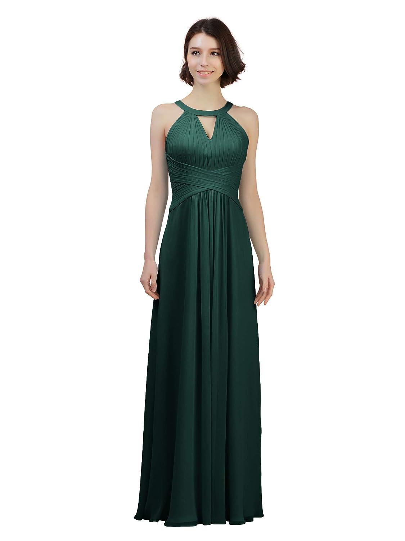 Dark Emerald Alicepub Keyhole Bridesmaid Dress Long Formal Evening Prom Gown for Wedding Maxi