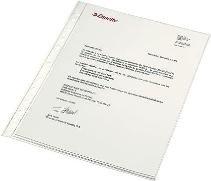 ESSELTE 46104 - Fundas portadocumentos COPYSAFE PP Cristal sin refuerzo 120 micras (caja 100 ud.) DIN A4. 11 taladros: Amazon.es: Oficina y papelería