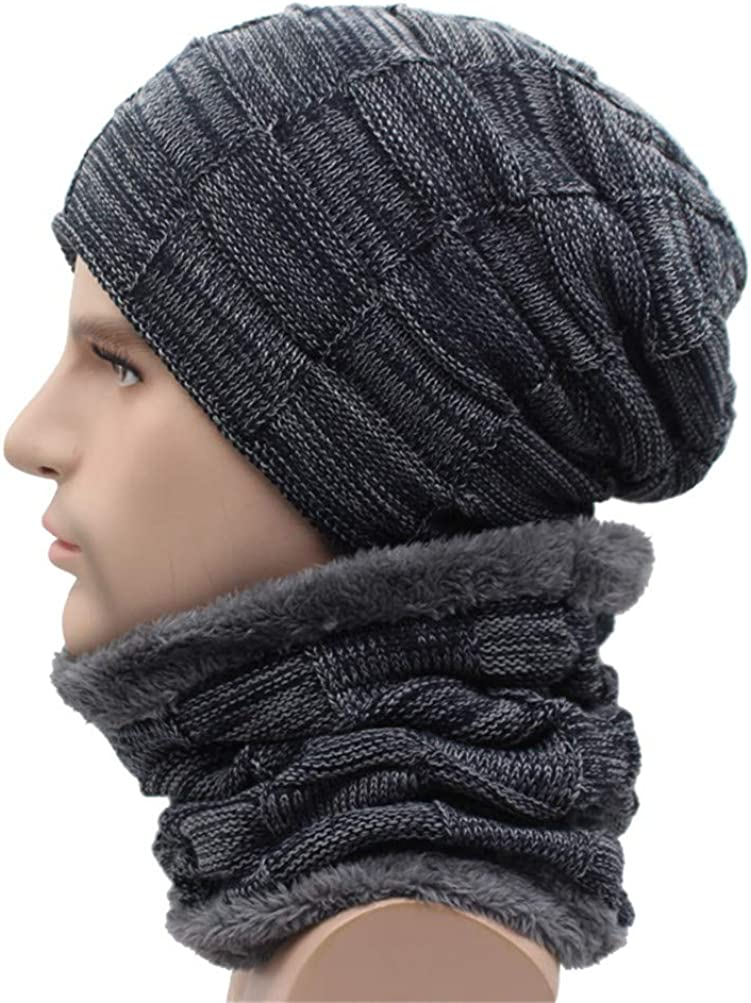 Qianmome Winter Beanie Scarf Skullies Skull Warm Baggy Cap Mask Gorros Knitted Hat