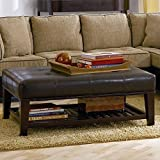 Coaster Ottoman with Open Shelf & Tufted Top Dark Brown Leather Like