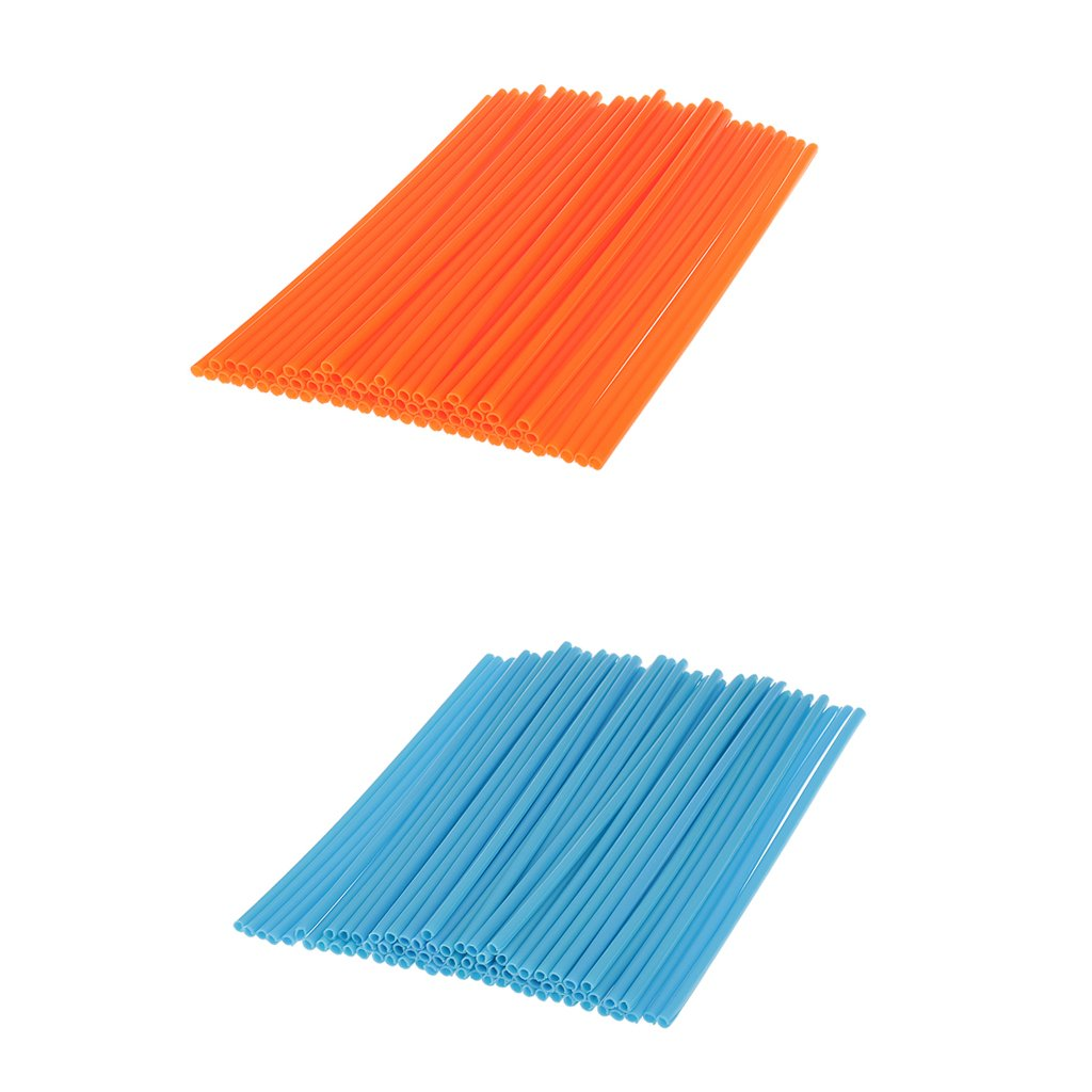 Sharplace Wheel Spoke Wraps Covers Rims Skins Motorcycle Pit Dirt Orange+Light Blue