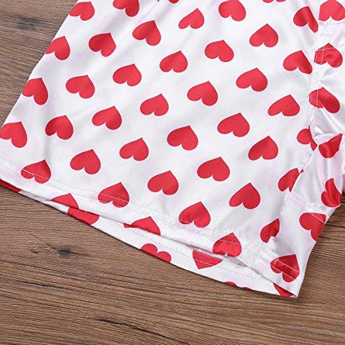 inlzdz Men's Silky Satin Love Heart Print Boxer Shorts Summer Lounge Sports  Shorts Pants White Large