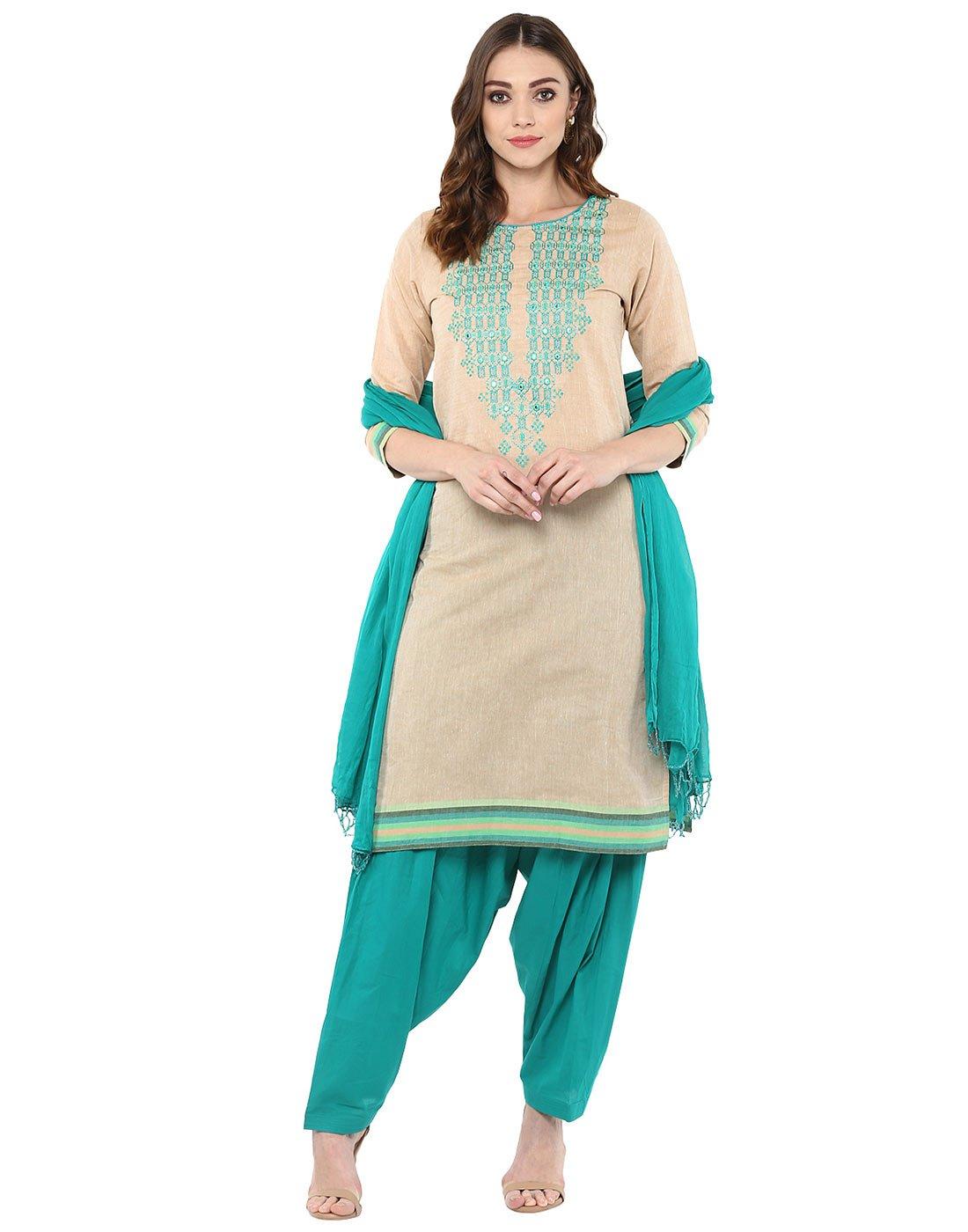 Jaipur Kurti Women's South Cotton Embroidery Kurta With Patiala DupattaSuit Set XXL Cream